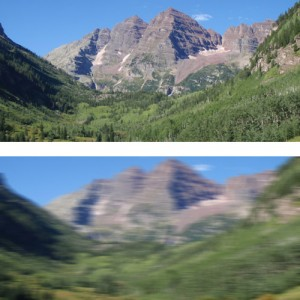 This image shows two different views of a mountain scenery.  The top view is clear and normal, while the bottom image is blurred and out of focus.