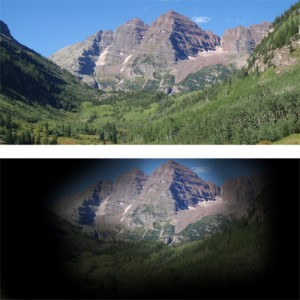 This image shows a simulated view of what it would be like to have advanced glaucoma.  The top image shows a lovely Colorado mountain scene, while the bottom image of the same view shows a black fog surrounding the center of the mountain scenery.