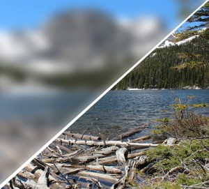 This image shows two views of a Colorado mountain scene. The top view is blurred, while the bottom view is sharp. This represents the visual effect of myopia.