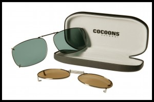This image shows clip-on sunglass lenses.