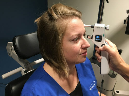 This images shows use of an iCare Tonometer.  This instrument can easily measure eye pressure without any puff!