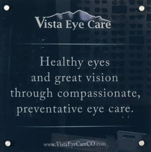 "Vista Eye Care's Mission Statement: ""Healthy eyes and great vision through compassionate, preventative eye care."""