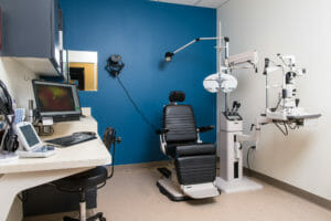 This image shows one of Vista Eye Care's high-tech exam rooms.