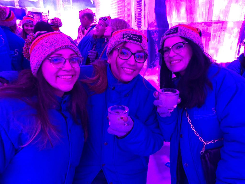 Vegas!  We pose in the frozen bar.