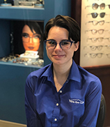 This image shows Kim, our optician and the author of this article