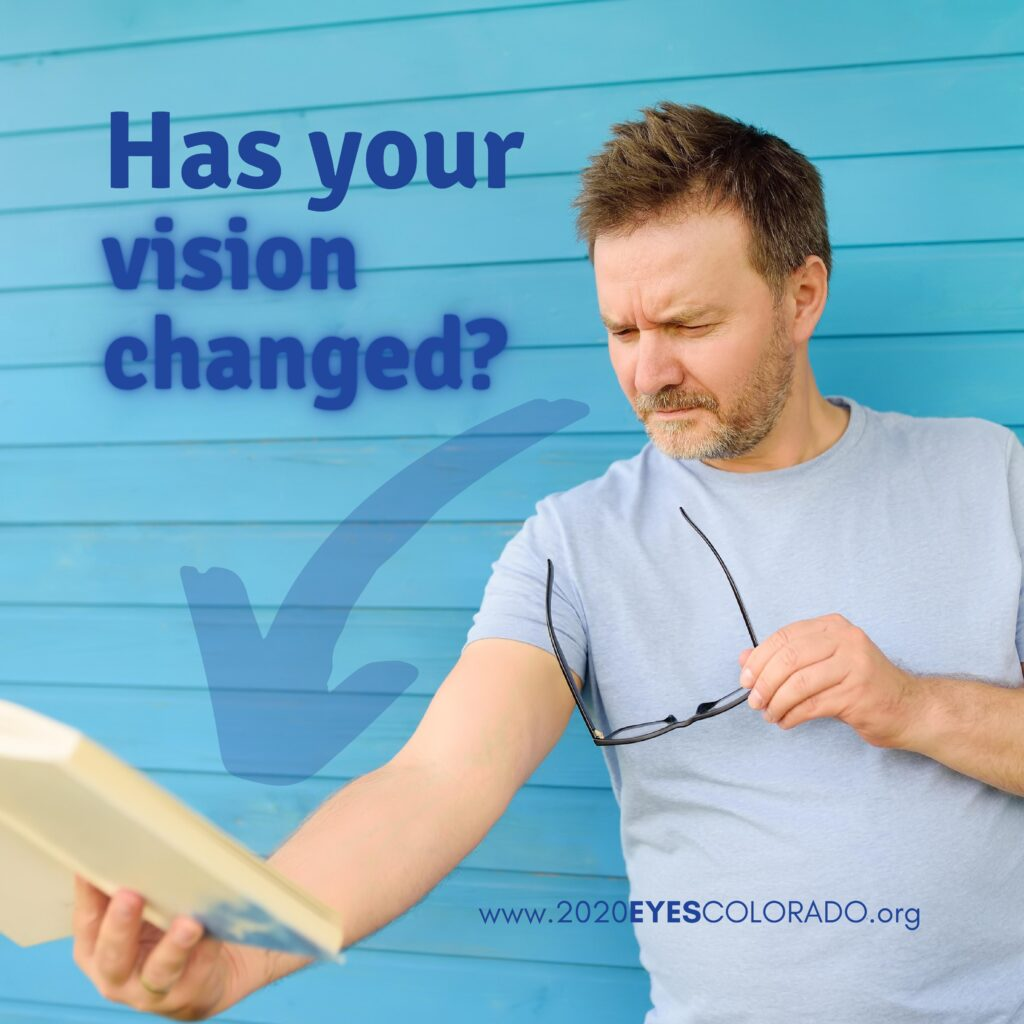 Aging eyes causes people to have to hold reading material further from them in order to clearly see it.