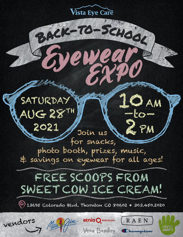 Back to School Eyewear Expo 8/28/2021 from 10 AM to 2 PM!  Come join the fun!